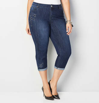 Avenue Star Embroidered Capri Jean
