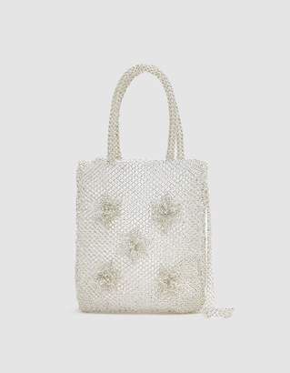 Mozh Mozh Beaded Flower Bag in Transparent