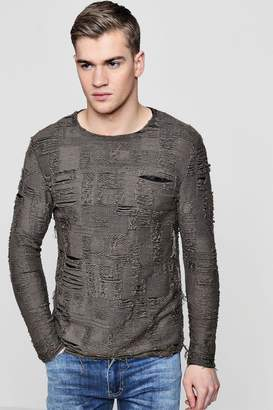 boohoo Heavy Distressed Crew Jumper