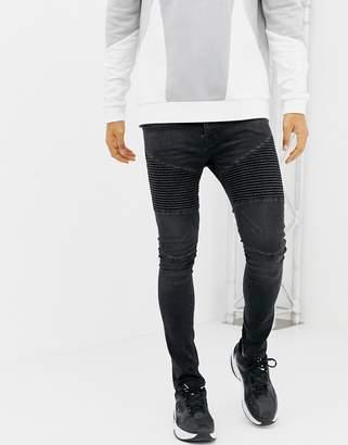 Voi Jeans Super Skinny Biker Jeans In Washed Black Black