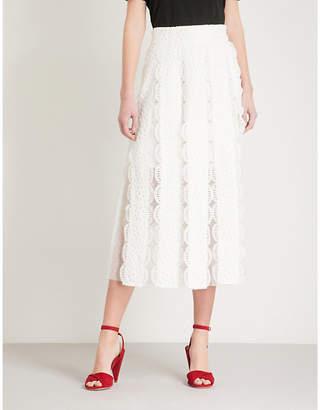 Maje Janila lace and mesh skirt