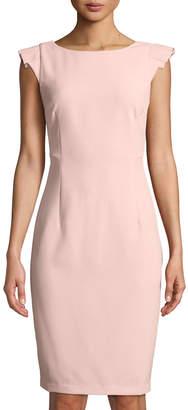 Neiman Marcus Ruffled Cap-Sleeve Sheath Dress