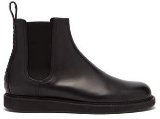 Bottega Veneta Intrecciato Heel Panel Leather Chelsea Boots - Mens - Black