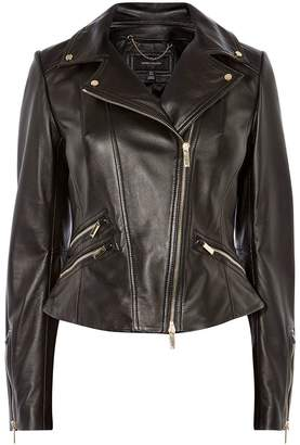 Karen Millen Leather Jacket Gold Trims