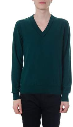 Maison Margiela V Neck Green Cashmere Sweater