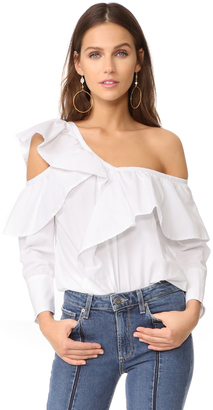 Clu Asymmetrical Top with Ruffle $253 thestylecure.com