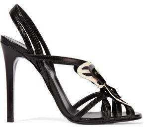 Just Cavalli Butterfly-Appliquéd Leather Sandals