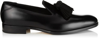 Jimmy Choo FOXLEY Black Shiny Calf and Satin Loafers