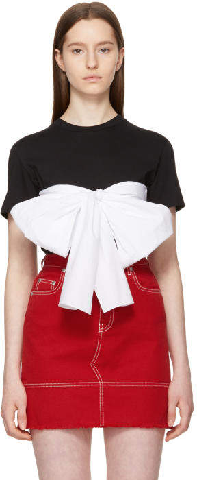 MSGM SSENSE Exclusive Black Contrast Bow T-Shirt