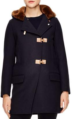 Sandro Balsamine Fur Hood Wool Coat