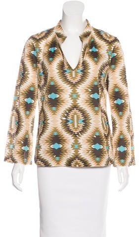 Tory Burch Tory Burch Embellished Geometric Print Top