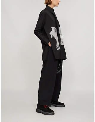 Yohji Yamamoto Printed patch cotton-poplin shirt