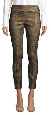 Lord & Taylor Metallic Houndstooth Kelly Pull On Pants