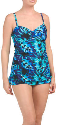 Tropical Leaves Sweetheart Swim Dress
