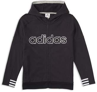 adidas Boys' Zip-Up Logo Hoodie - Little Kid