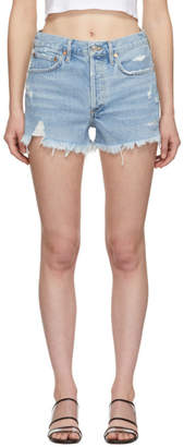 A Gold E Agolde Blue Denim Parker Shorts