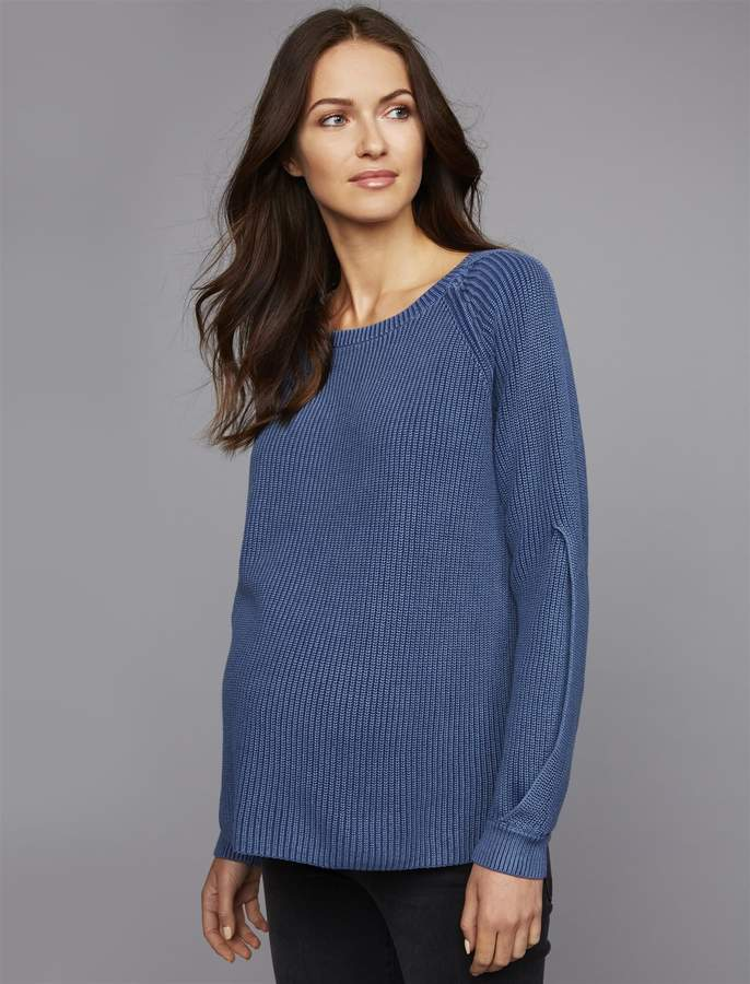 A Pea In The Pod Luxe Essentials Denim Boyfriend Fit Maternity Sweater