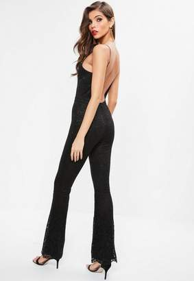 Missguided Black Lace Low Back Strappy Romper
