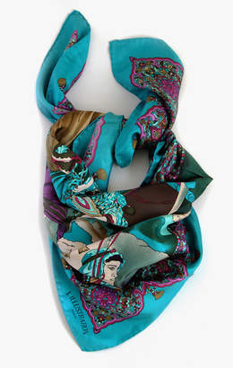 Belle Epoque L'illustration Turquoise Magestic Night Silk Scarf