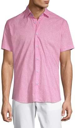 Bertigo Men's Printed Short-Sleeve Cotton Button-Down Shirt