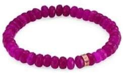 Sydney Evan Sapphire, Purple Jade and 14K Gold Rainbow Rondelle Berry Beaded Bracelet