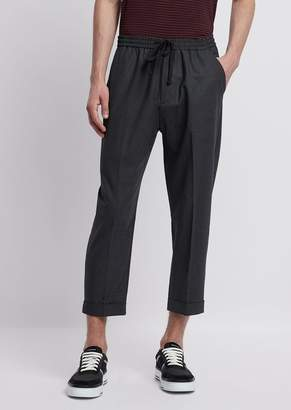 Emporio Armani Technical Wool Pants With Stretch Waistband And Pleats