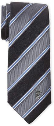 Versace Grey Silk Stripe Tie