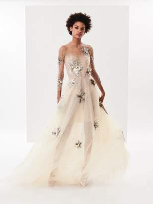 Oscar de la Renta Sequin Starfish Embroidered Tulle Gown