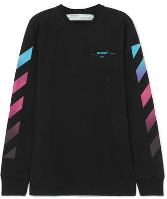 Off-White Printed Cotton-jersey Top - Black