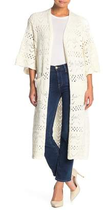 I. MADELINE Open Knit 3/4 Sleeve Cardigan Duster