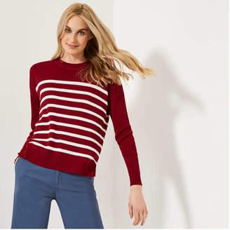 Joe Fresh Women's Stripe Sweater, Dark Red (Size XL)
