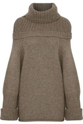 J.W.Anderson Oversized Ribbed Knit-Paneled Wool-Blend Turtleneck Sweater