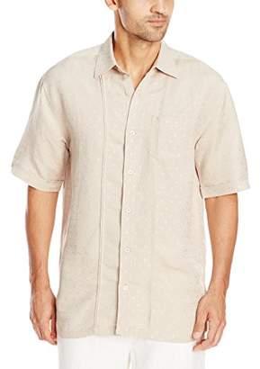 Cubavera Men's Linen-Blend Short Sleeve Textured Shirt with Pocket and Pleats