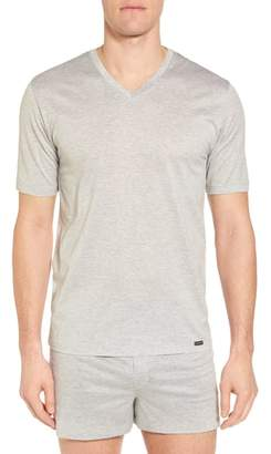 Hanro Sporty Stripe Cotton V-Neck T-Shirt