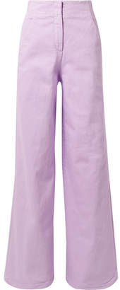 Tibi Cotton-blend Wide-leg Pants - Lavender