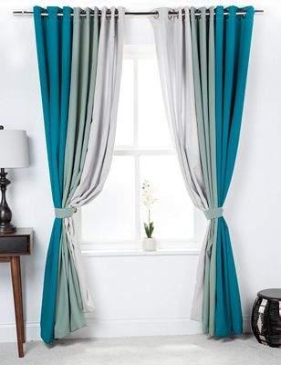 LOFT 25 3 Tone Coloured Curtains With Tiebacks Jade/sage/stone 46X90