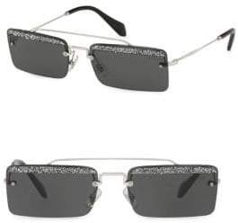 Miu Miu 58mm Glittered Rectangular Sunglasses
