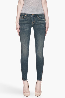 Mother Deep turquoise The Looker zipped Ankle jeans