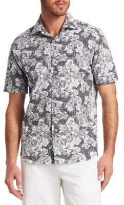Saks Fifth Avenue COLLECTION Abstract Floral Woven Cotton Button-Down Shirt