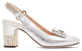 Gucci Madelyn Crystal Embellished Slingback Pumps - Womens - Silver