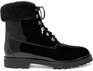 Aquazzura The Heilbrunner Faux Fur-trimmed Patent-leather Ankle Boots - Black