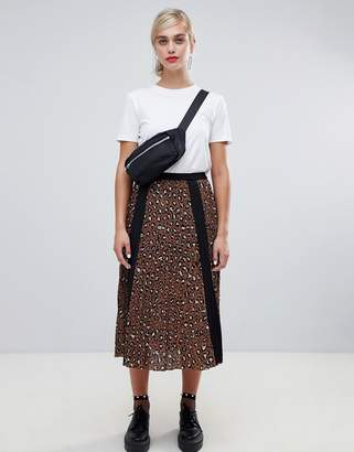 Stradivarius leopard pleat midi skirt