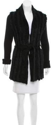 Graham & Spencer Belted Fur-Trimmed Cardigan