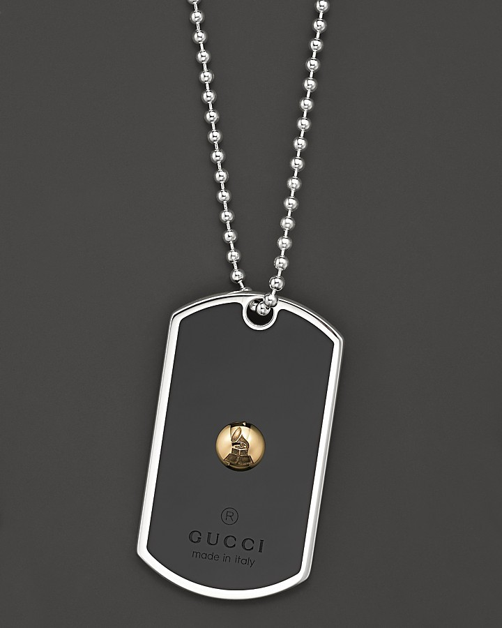 Gucci Sterling Silver, 18K Yellow Gold and Black Enamel Limited Edition GRAMMY® Dogtag Necklace