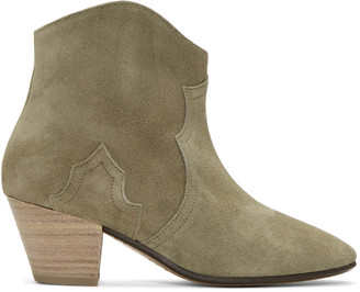 Isabel Marant Taupe Suede Dicker Ankle Boots $610 thestylecure.com
