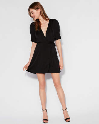Express Matte Satin Wrap Dress