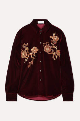 Saint Laurent Embellished Velvet Shirt - Burgundy