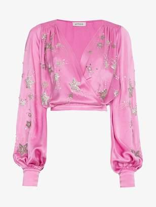 ATTICO bead embellished wrap blouse