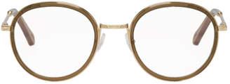 Chloé Khaki and Gold Round Glasses