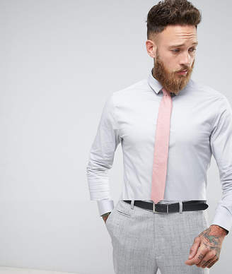 Asos Design Skinny Shirt In Grey With Pink Textured Tie SAVE